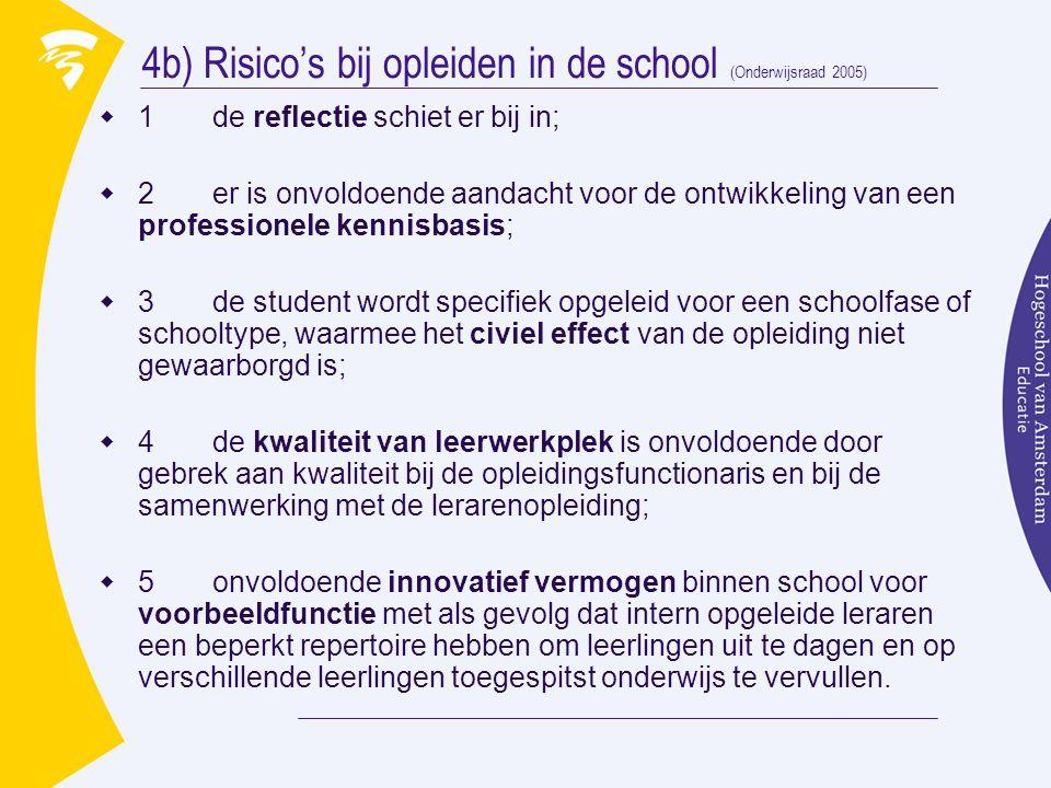 4b) Risico's bij opleiden in de school (Onderwijsraad 2005)