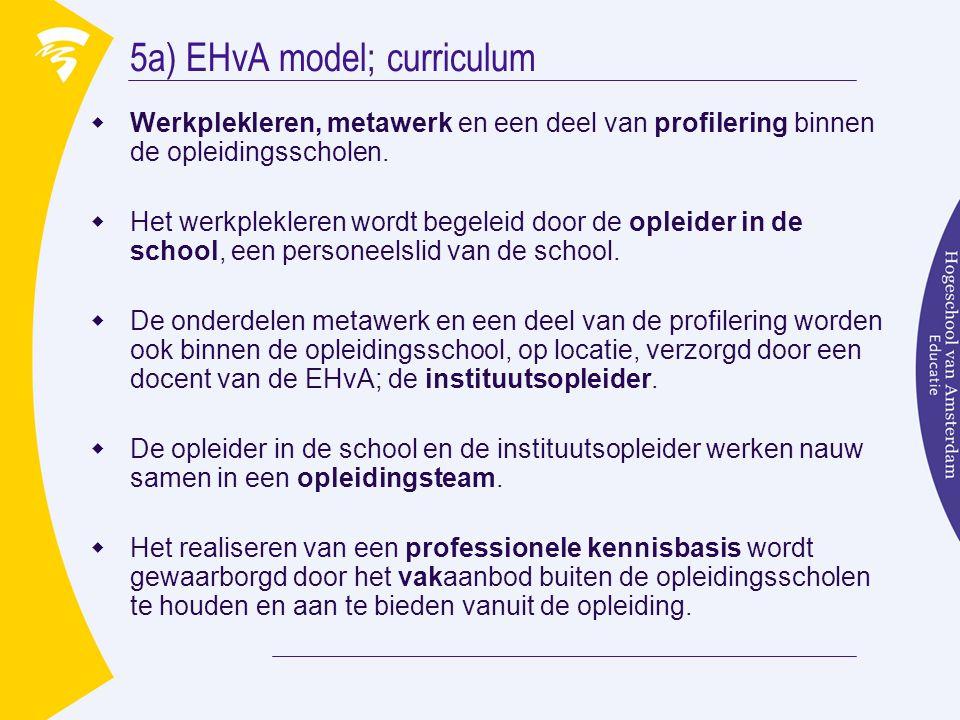 5a) EHvA model; curriculum