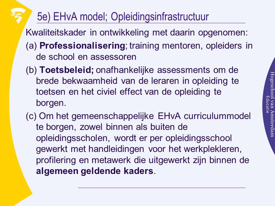 5e) EHvA model; Opleidingsinfrastructuur