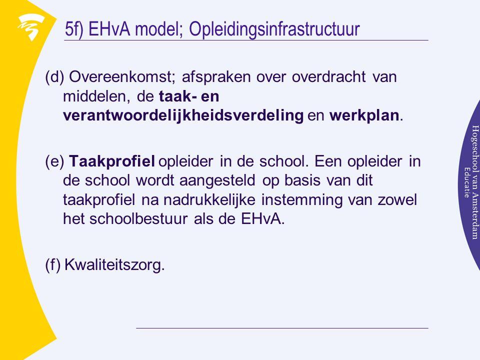 5f) EHvA model; Opleidingsinfrastructuur
