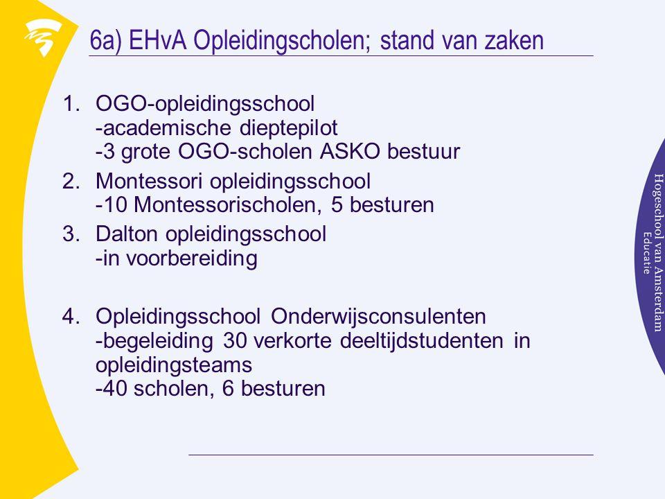 6a) EHvA Opleidingscholen; stand van zaken