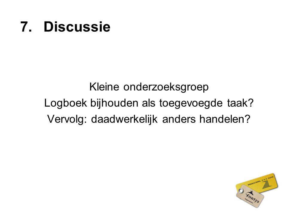 Discussie Kleine onderzoeksgroep