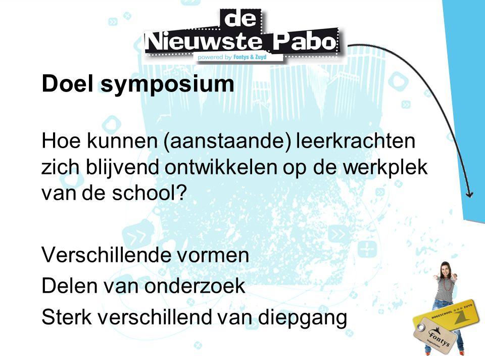 Doel symposium Hoe kunnen (aanstaande) leerkrachten zich blijvend ontwikkelen op de werkplek van de school