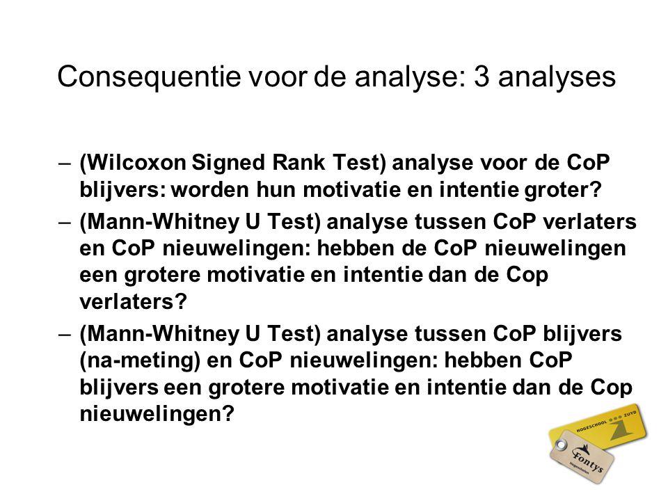 Consequentie voor de analyse: 3 analyses