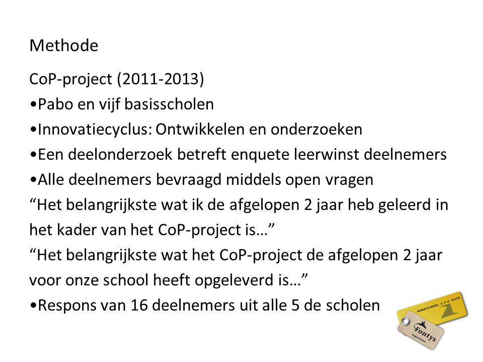Methode CoP-project (2011-2013) Pabo en vijf basisscholen