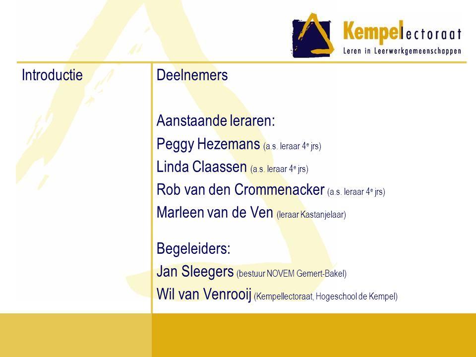 Introductie Deelnemers. Aanstaande leraren: Peggy Hezemans (a.s. leraar 4e jrs) Linda Claassen (a.s. leraar 4e jrs)