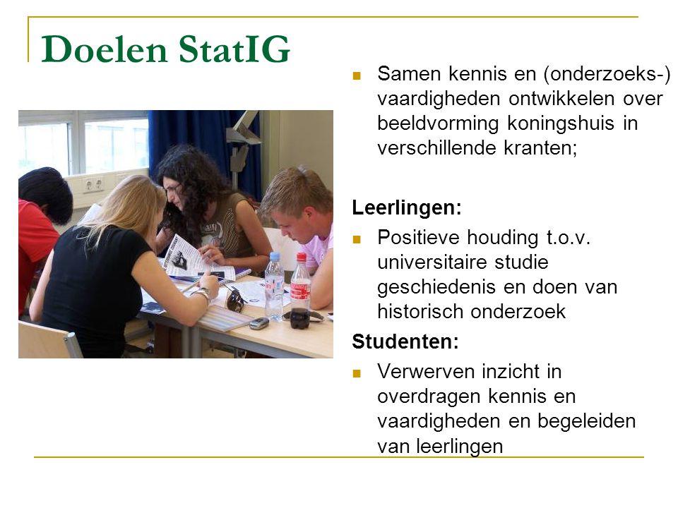 Doelen StatIG Samen kennis en (onderzoeks-) vaardigheden ontwikkelen over beeldvorming koningshuis in verschillende kranten;