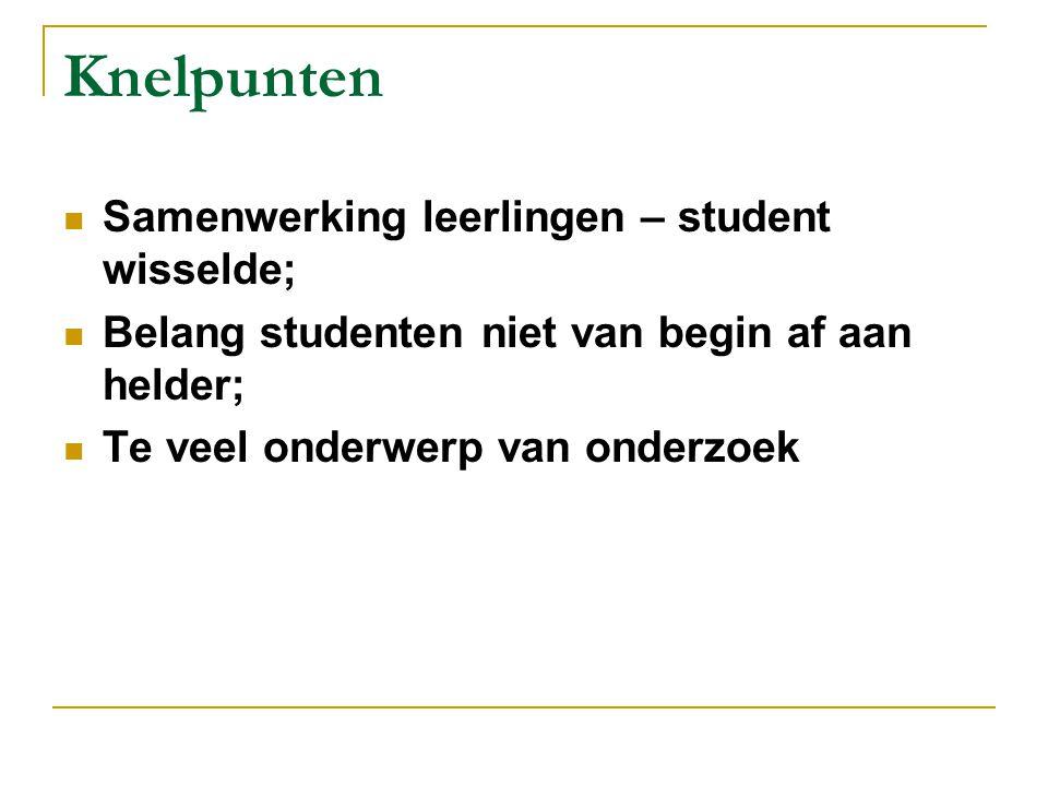 Knelpunten Samenwerking leerlingen – student wisselde;