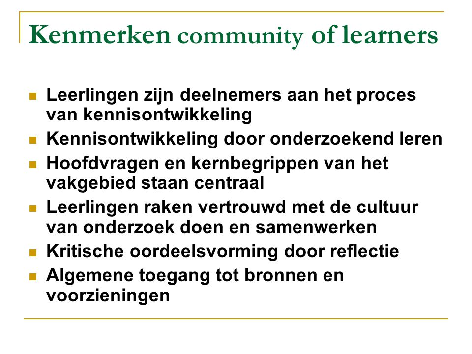 Kenmerken community of learners
