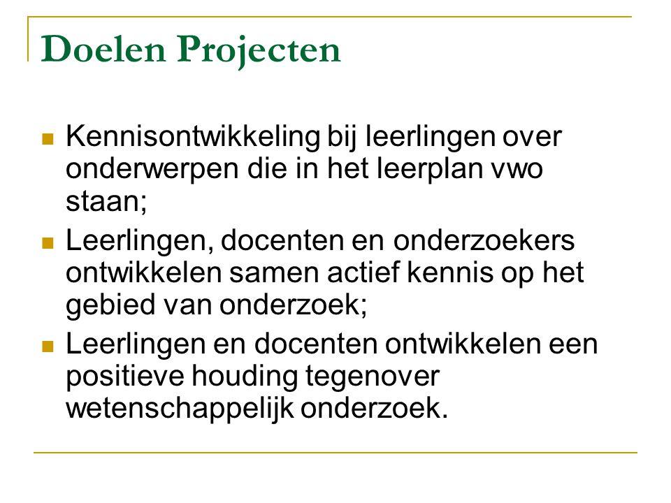 Doelen Projecten Kennisontwikkeling bij leerlingen over onderwerpen die in het leerplan vwo staan;