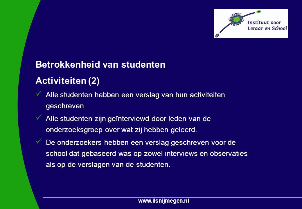 Betrokkenheid van studenten Activiteiten (2)