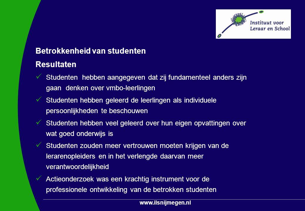 Betrokkenheid van studenten Resultaten