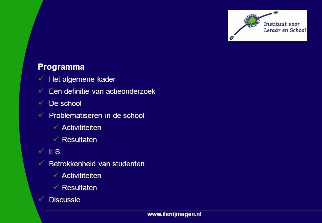 Programma Het algemene kader Een definitie van actieonderzoek