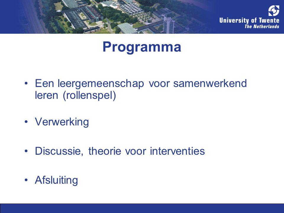 Programma Een leergemeenschap voor samenwerkend leren (rollenspel)