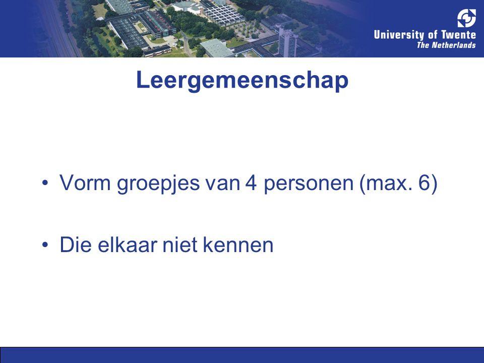 Leergemeenschap Vorm groepjes van 4 personen (max. 6)