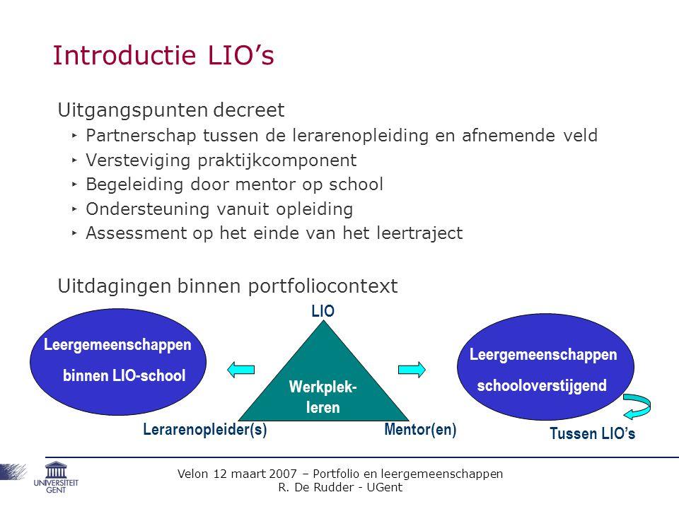 Introductie LIO's Uitgangspunten decreet