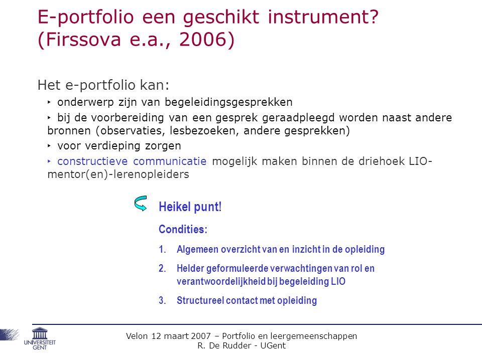 E-portfolio een geschikt instrument (Firssova e.a., 2006)