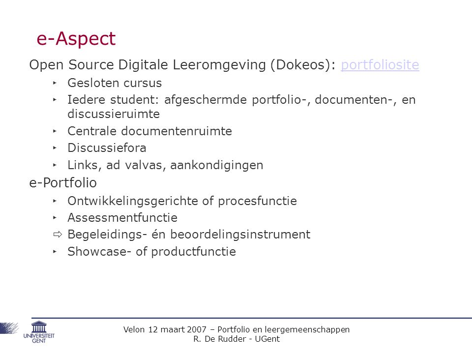 e-Aspect Open Source Digitale Leeromgeving (Dokeos): portfoliosite