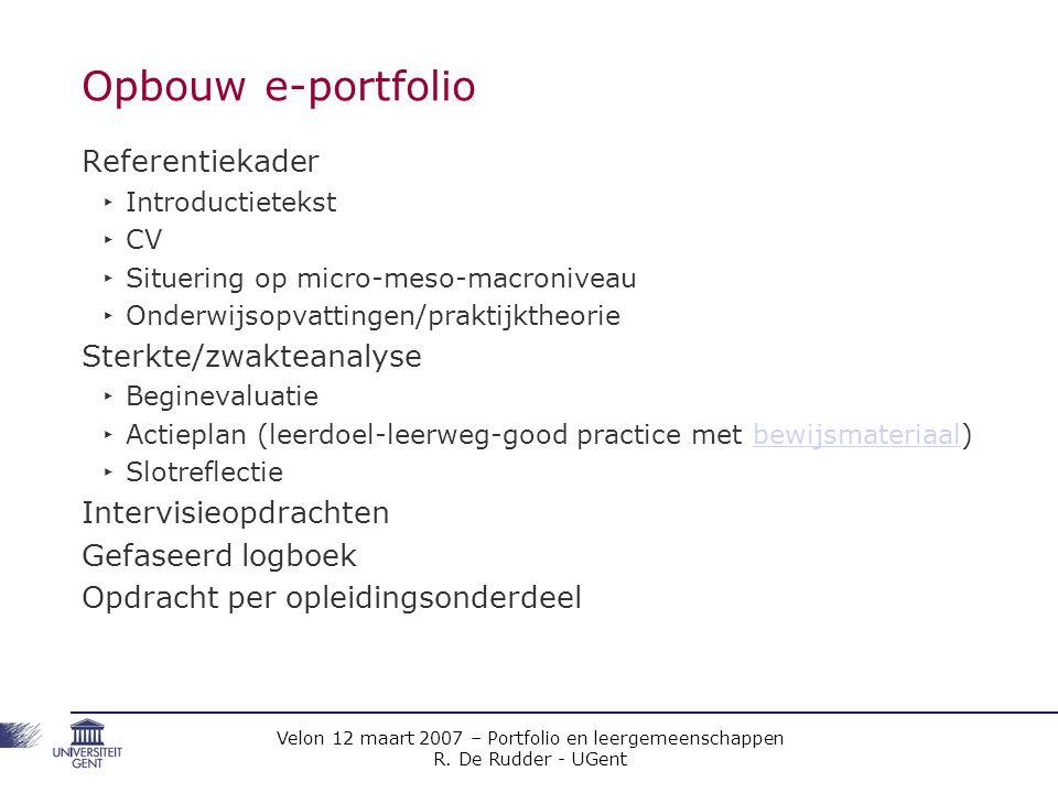 Opbouw e-portfolio Referentiekader Sterkte/zwakteanalyse
