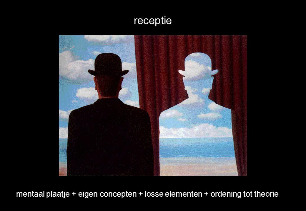 receptie mentaal plaatje + eigen concepten + losse elementen + ordening tot theorie