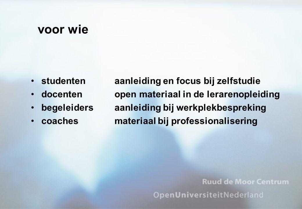 voor wie studenten aanleiding en focus bij zelfstudie