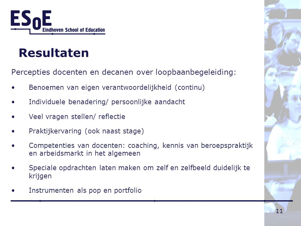 Resultaten Percepties docenten en decanen over loopbaanbegeleiding: