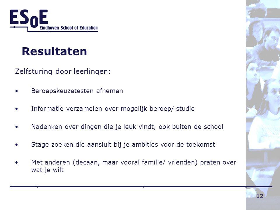 Resultaten Zelfsturing door leerlingen: Beroepskeuzetesten afnemen