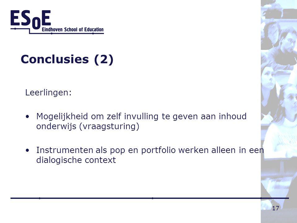 Conclusies (2) Leerlingen: