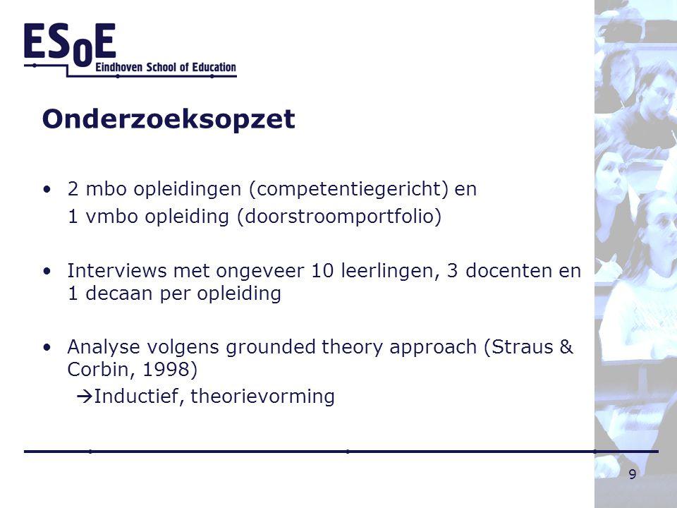 Onderzoeksopzet 2 mbo opleidingen (competentiegericht) en