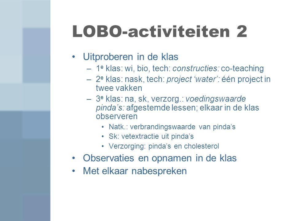 LOBO-activiteiten 2 Uitproberen in de klas