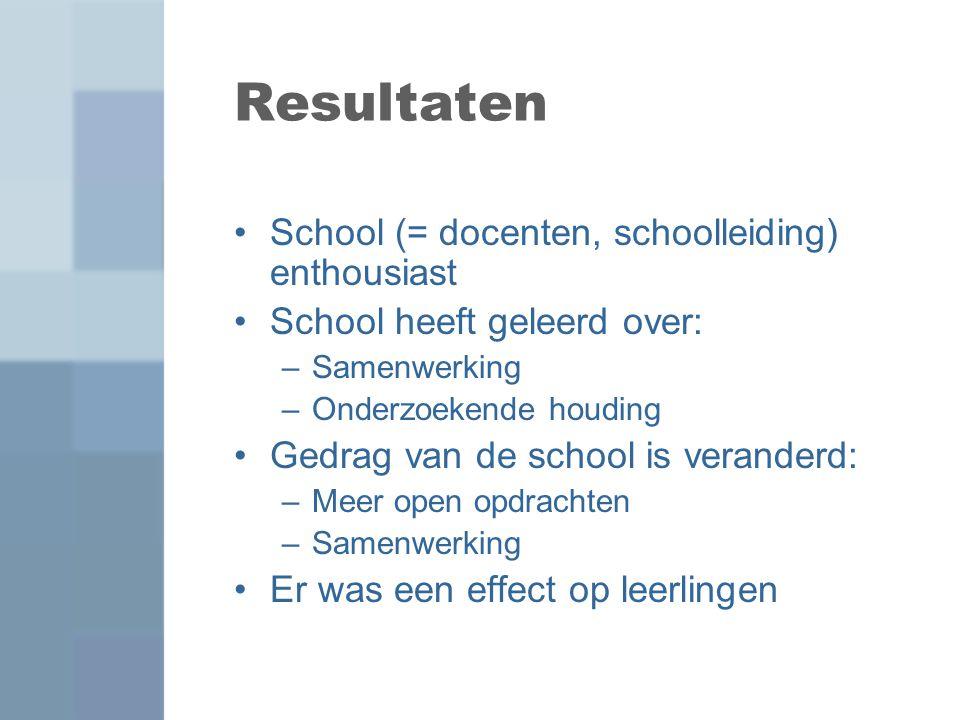 Resultaten School (= docenten, schoolleiding) enthousiast