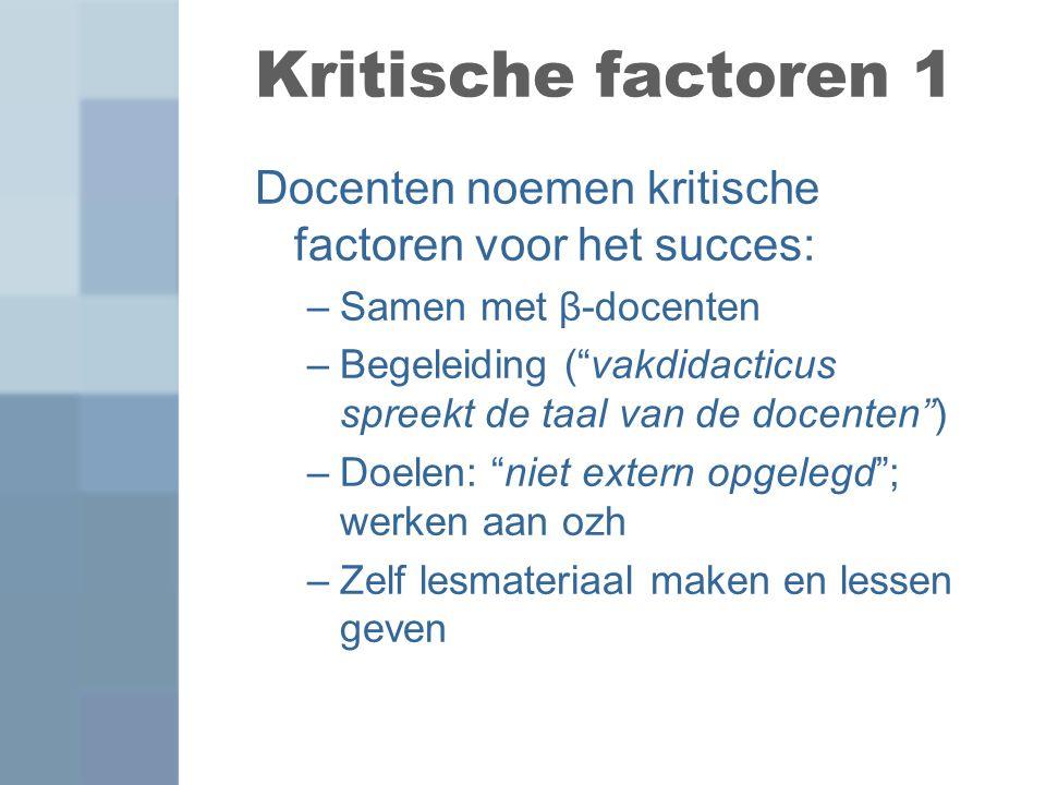 Kritische factoren 1 Docenten noemen kritische factoren voor het succes: Samen met β-docenten.