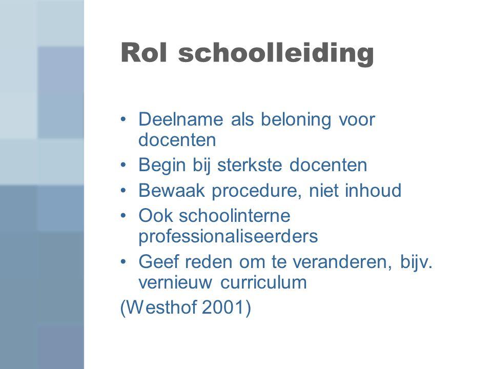 Rol schoolleiding Deelname als beloning voor docenten