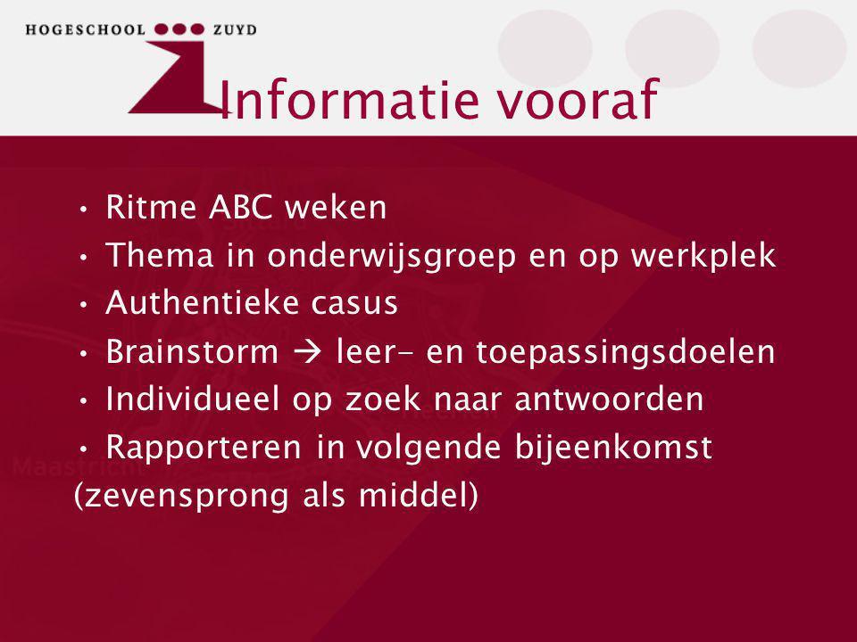 Informatie vooraf Ritme ABC weken