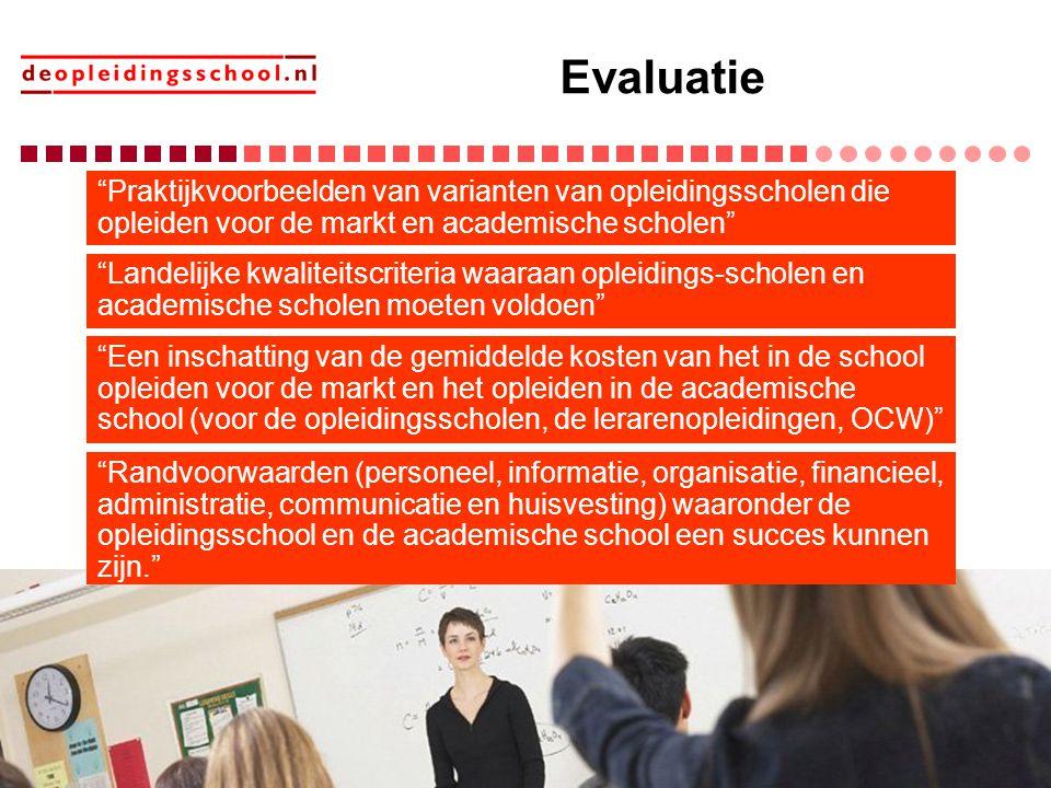 Evaluatie Praktijkvoorbeelden van varianten van opleidingsscholen die opleiden voor de markt en academische scholen