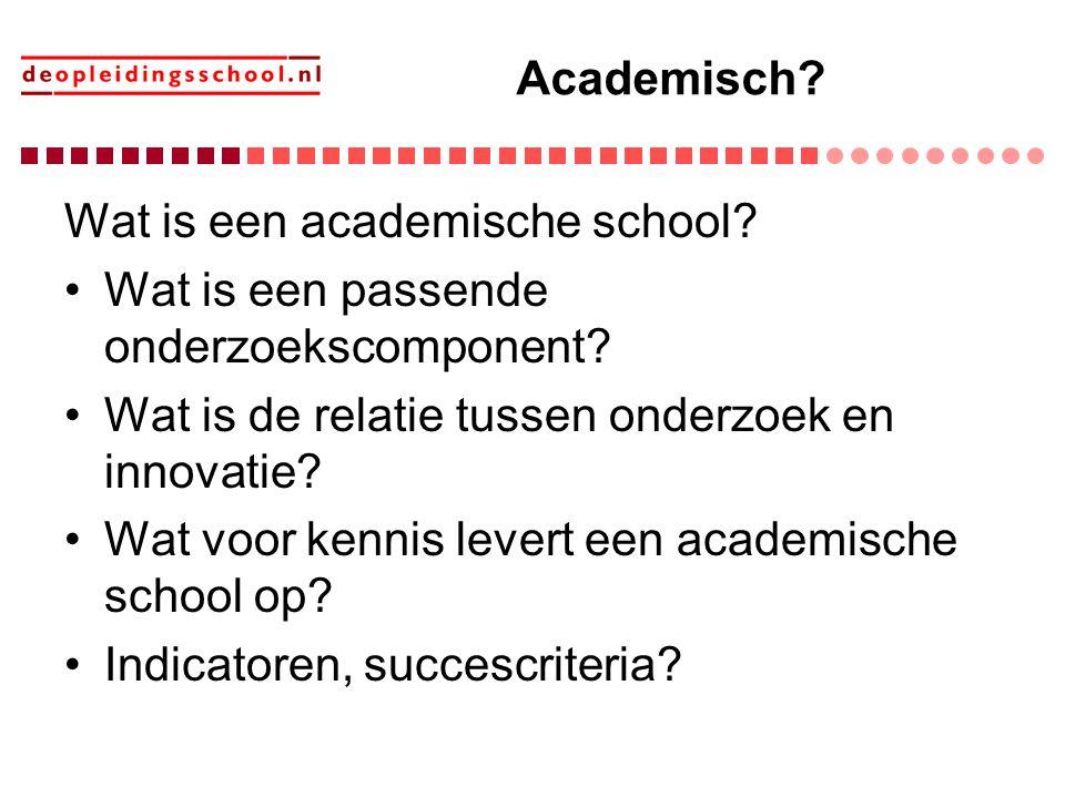 Academisch Wat is een academische school Wat is een passende onderzoekscomponent Wat is de relatie tussen onderzoek en innovatie