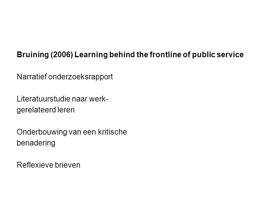 Bruining (2006) Learning behind the frontline of public service