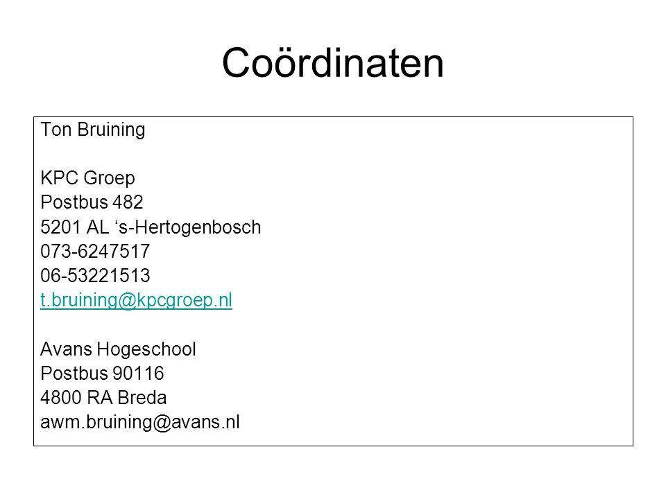 Coördinaten Ton Bruining KPC Groep Postbus 482