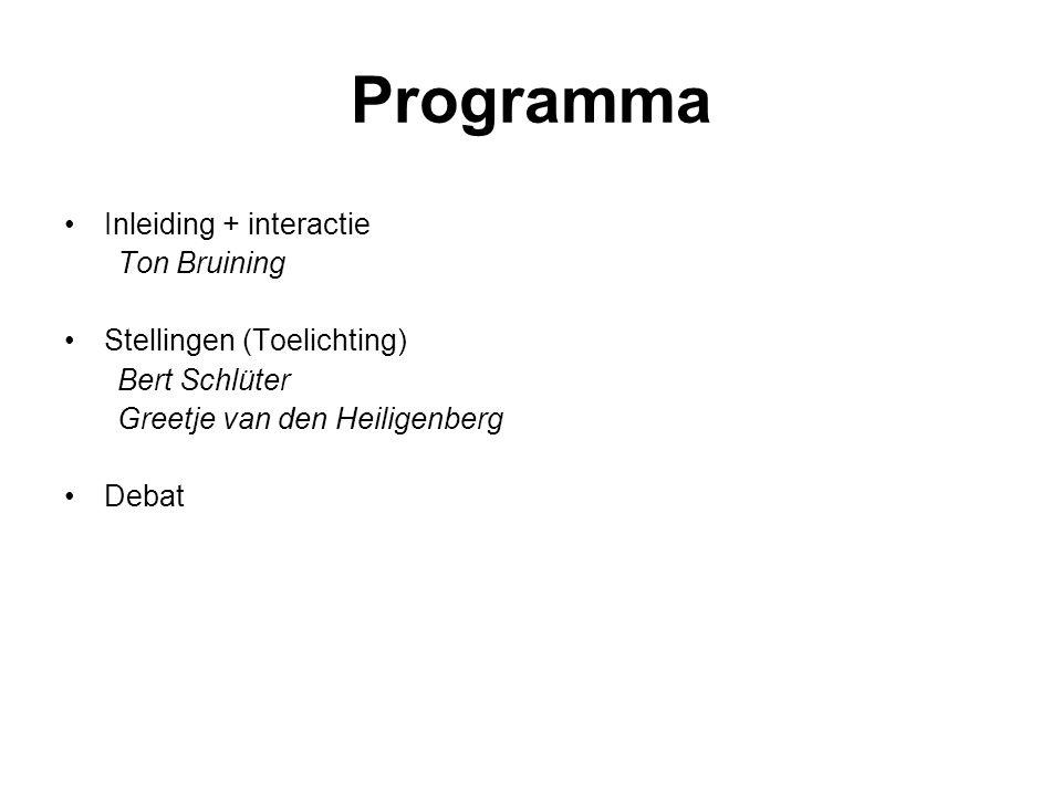 Programma Inleiding + interactie Ton Bruining Stellingen (Toelichting)