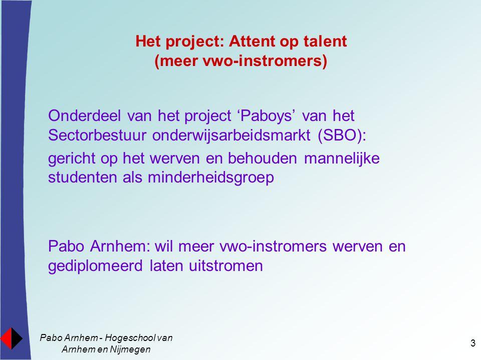 Het project: Attent op talent (meer vwo-instromers)