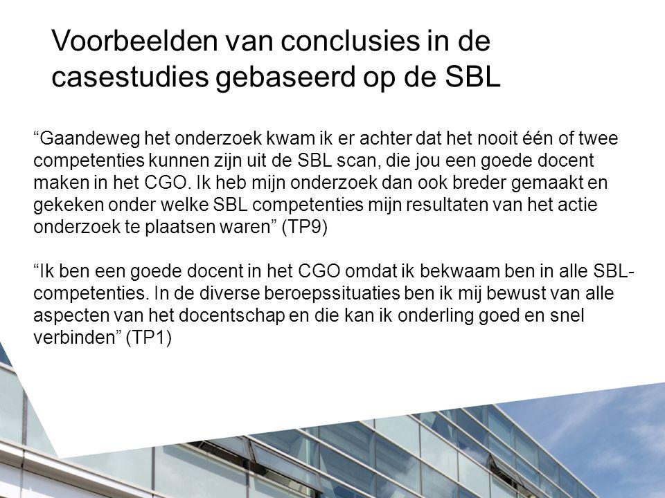 Voorbeelden van conclusies in de casestudies gebaseerd op de SBL