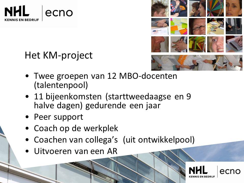 Het KM-project Twee groepen van 12 MBO-docenten (talentenpool)