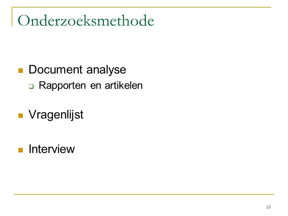 Onderzoeksmethode Document analyse Vragenlijst Interview