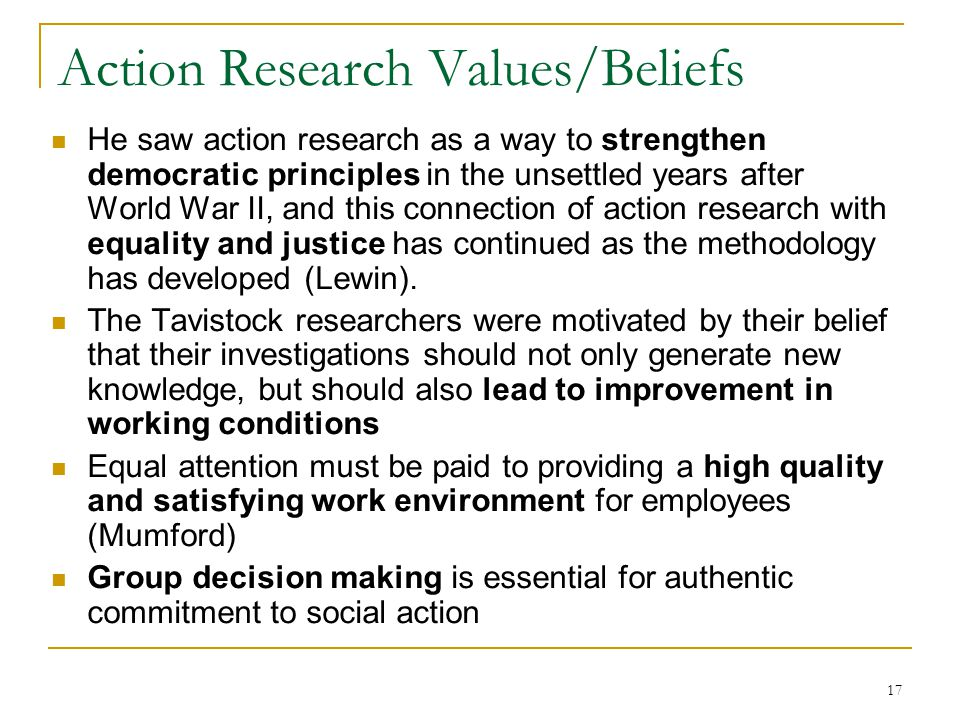 Action Research Values/Beliefs