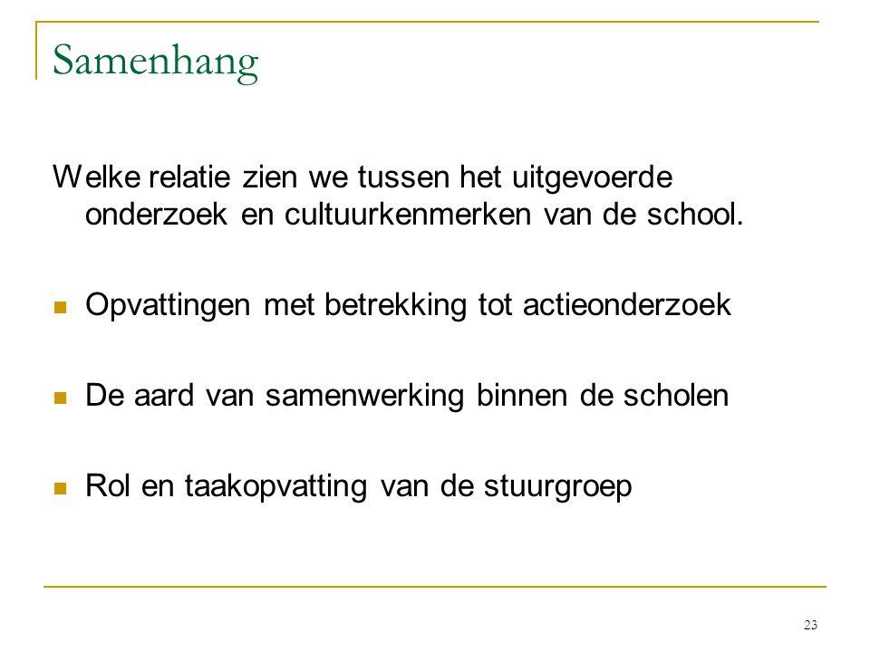 Congruentie / VELON 2007 6-11-2006. Samenhang. Welke relatie zien we tussen het uitgevoerde onderzoek en cultuurkenmerken van de school.