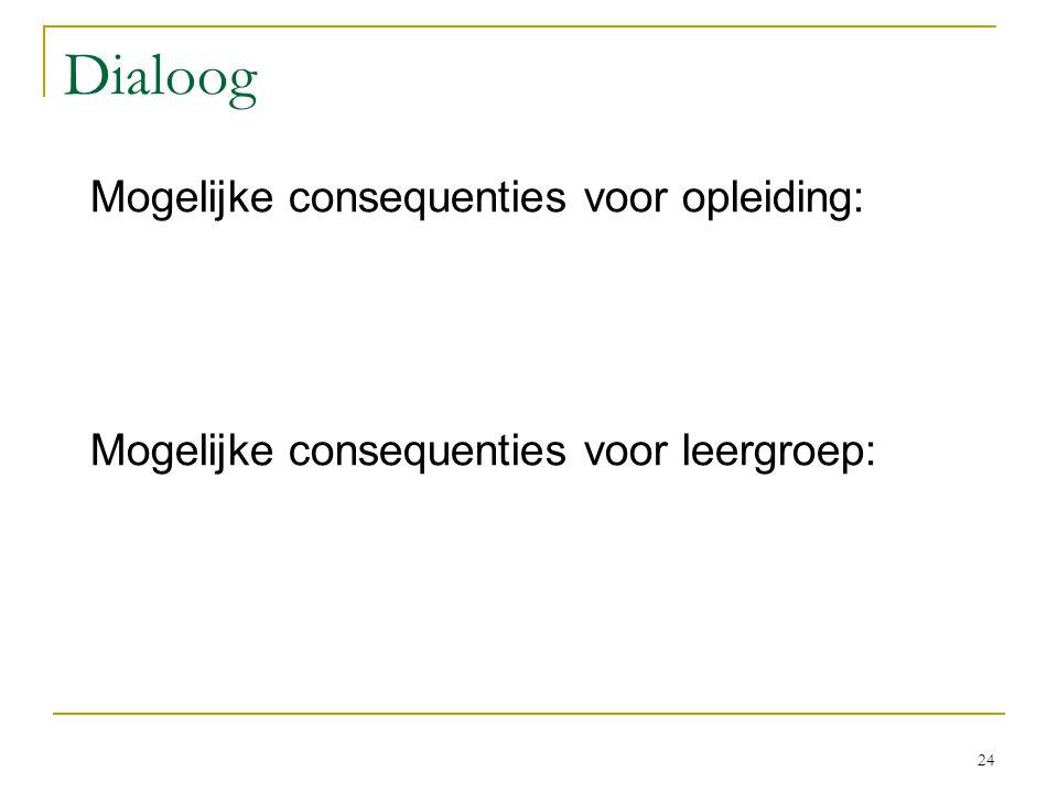 Dialoog Mogelijke consequenties voor opleiding: