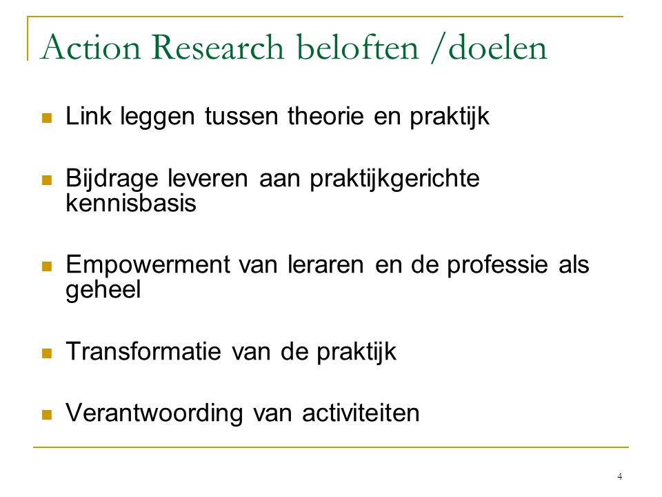 Action Research beloften /doelen