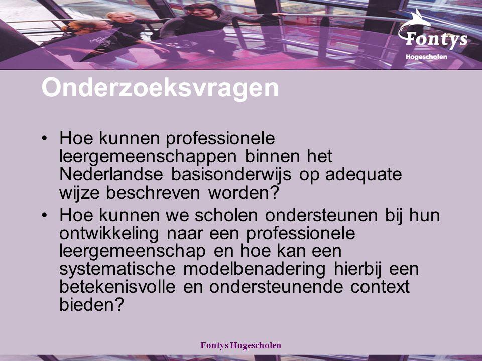 Onderzoeksvragen Hoe kunnen professionele leergemeenschappen binnen het Nederlandse basisonderwijs op adequate wijze beschreven worden
