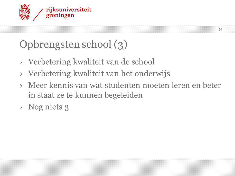 Opbrengsten school (3) Verbetering kwaliteit van de school