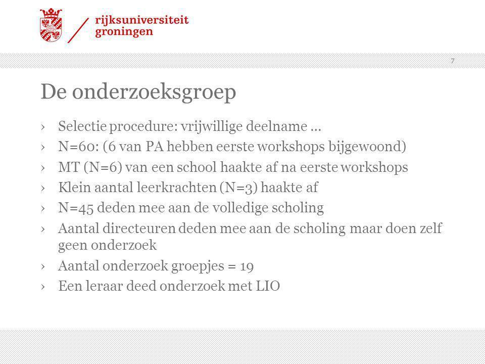 De onderzoeksgroep Selectie procedure: vrijwillige deelname …